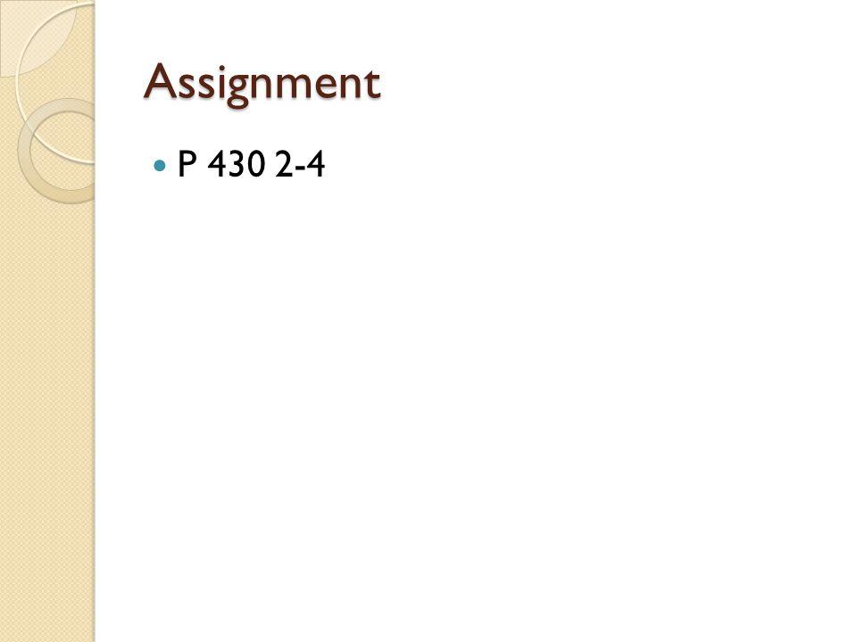 Assignment P 430 2-4