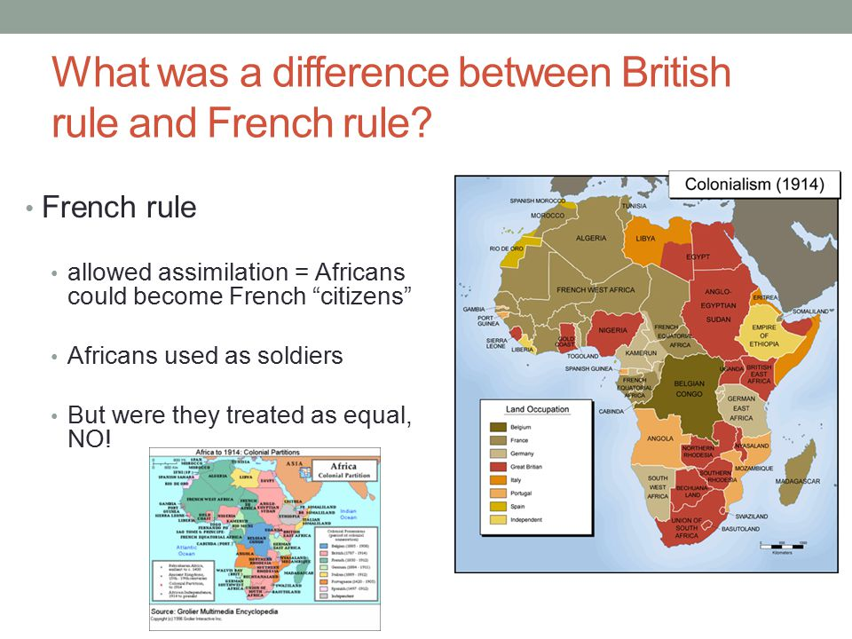 What was a difference between British rule and French rule