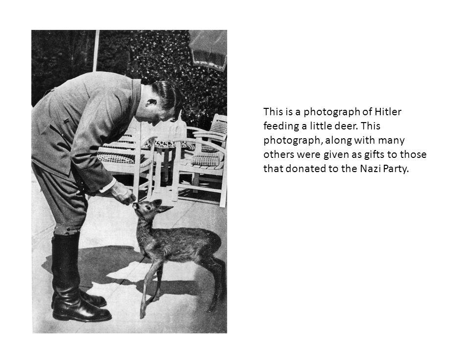 This is a photograph of Hitler feeding a little deer