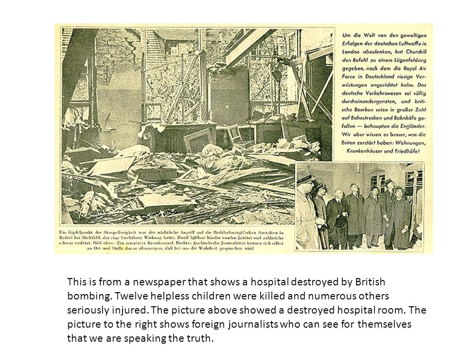 This is from a newspaper that shows a hospital destroyed by British bombing.