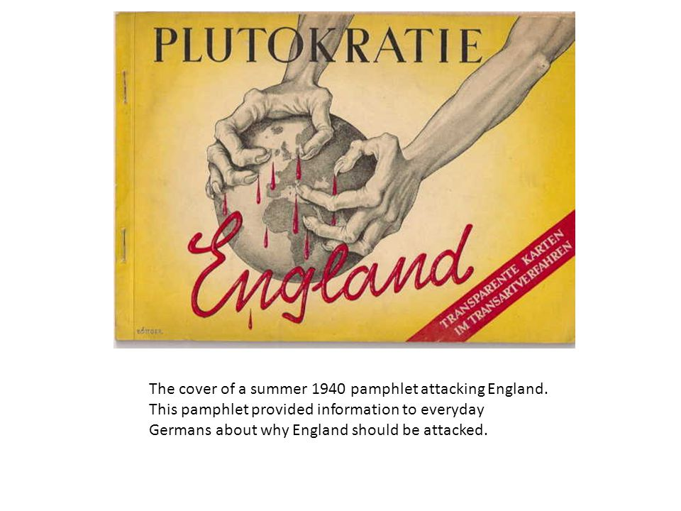 The cover of a summer 1940 pamphlet attacking England