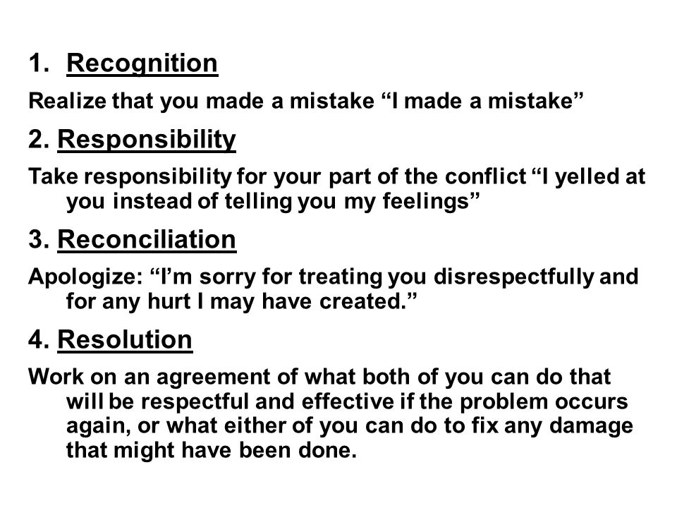 Recognition 2. Responsibility 3. Reconciliation 4. Resolution