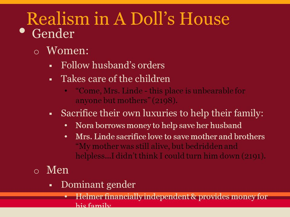 Realism in A Doll's House