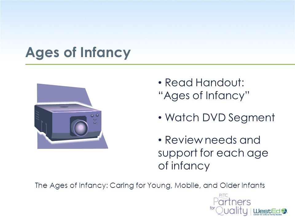 Ages of Infancy Read Handout: Ages of Infancy Watch DVD Segment