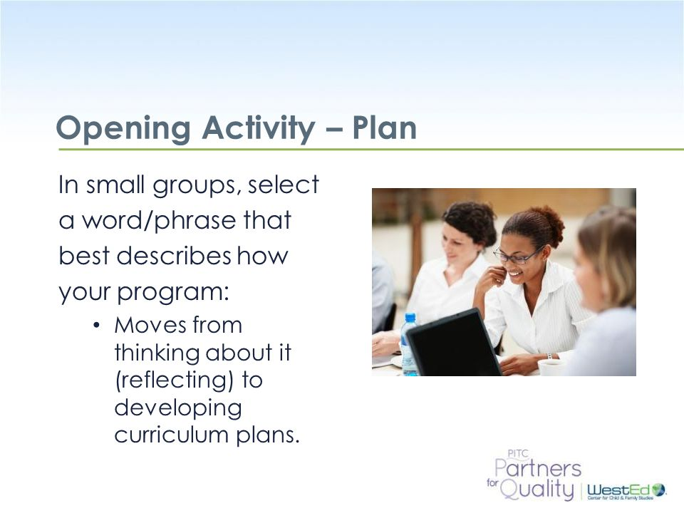 Opening Activity – Plan