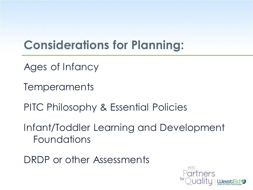 Considerations for Planning: