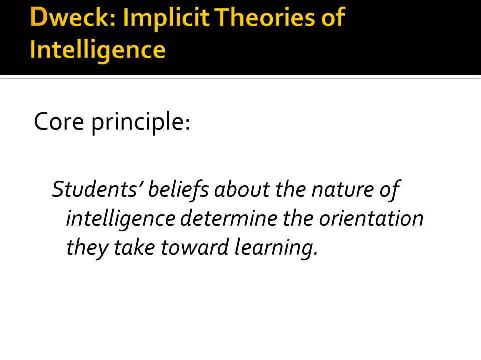 Dweck: Implicit Theories of Intelligence