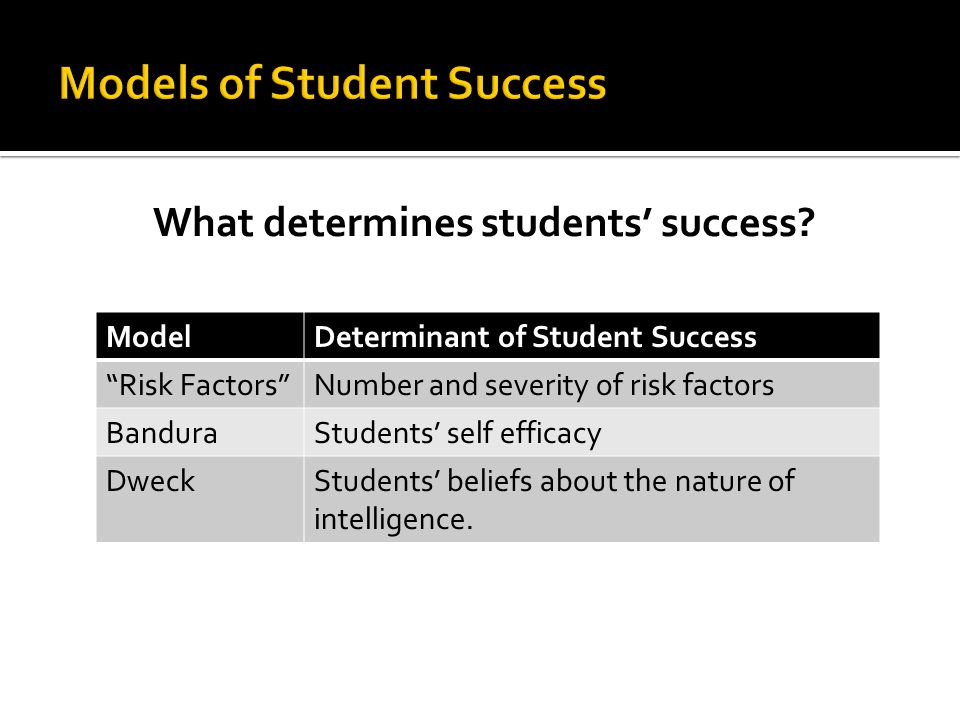 Models of Student Success