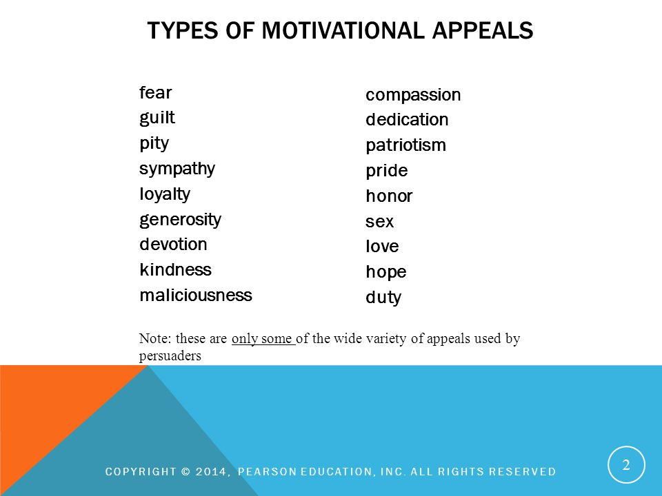 types of motivational appeals