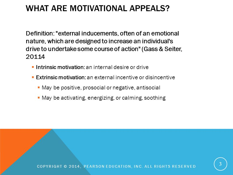 What are motivational appeals