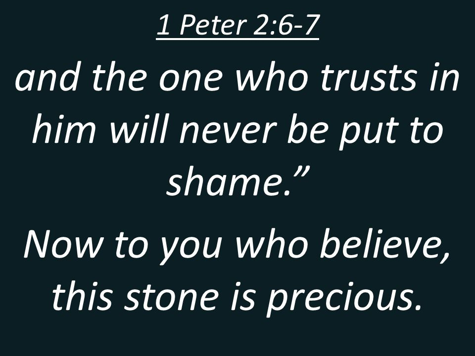 and the one who trusts in him will never be put to shame.