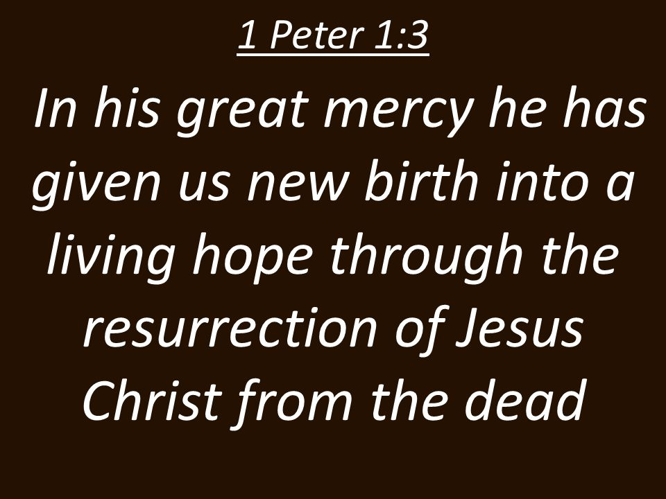 1 Peter 1:3 In his great mercy he has given us new birth into a living hope through the resurrection of Jesus Christ from the dead.