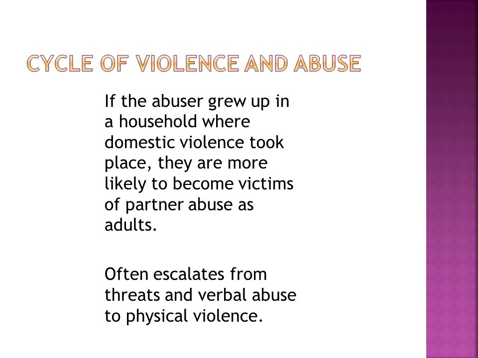 Cycle of violence and abuse