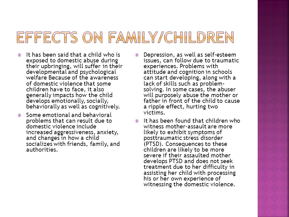 Effects on family/children