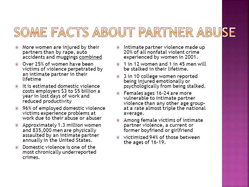 Some facts about partner abuse