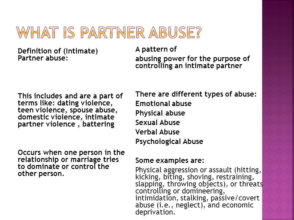 What is partner abuse
