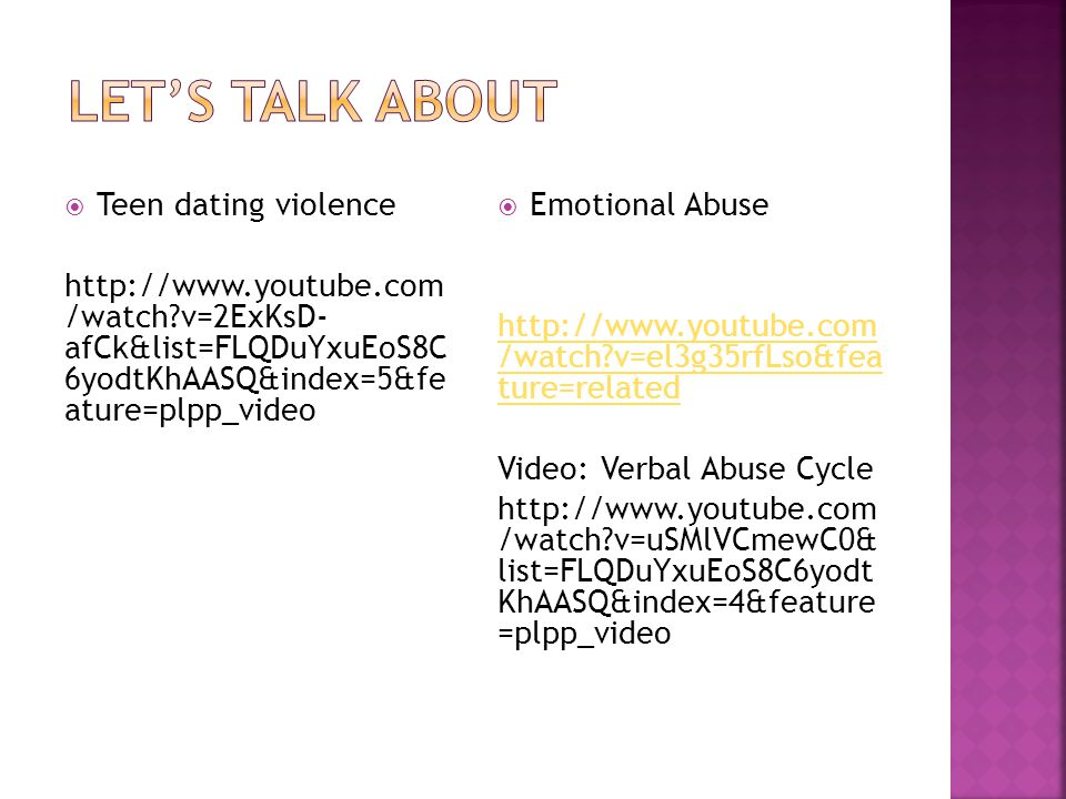 Let's talk about Teen dating violence