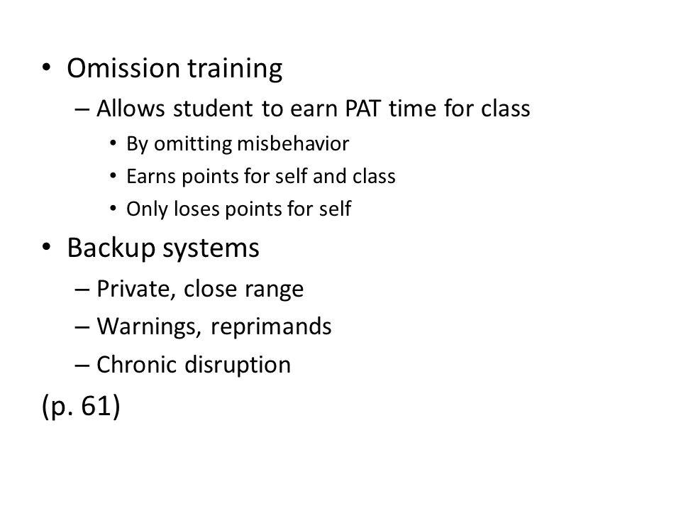 Omission training Backup systems (p. 61)