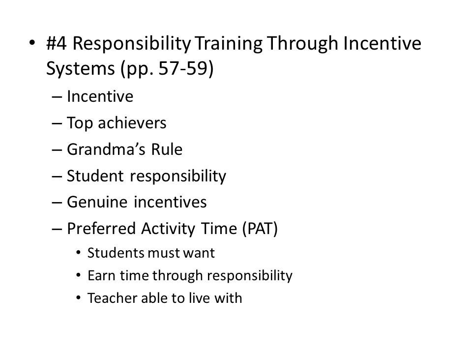 #4 Responsibility Training Through Incentive Systems (pp. 57-59)