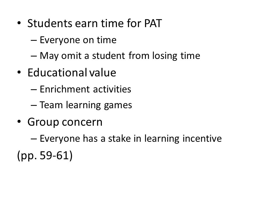 Students earn time for PAT