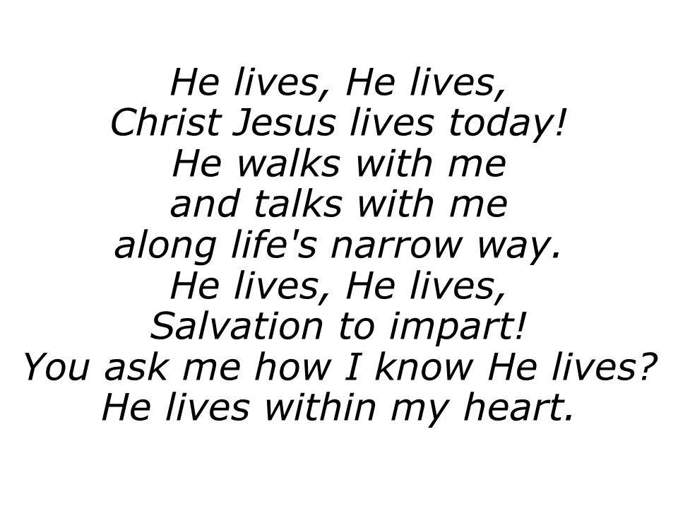 Christ Jesus lives today! He walks with me and talks with me