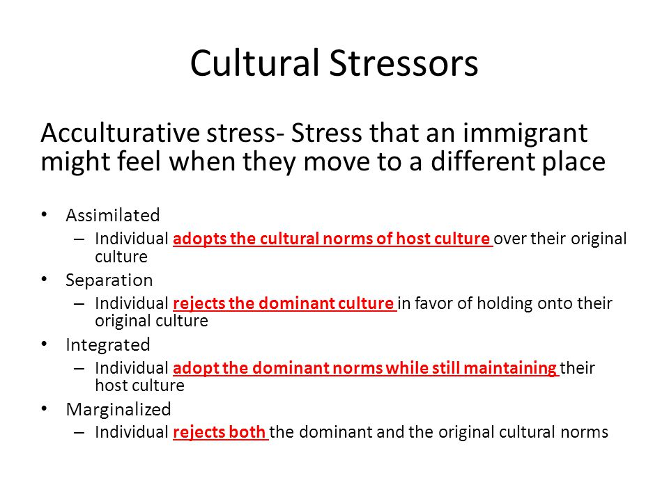 Cultural Stressors Acculturative stress- Stress that an immigrant might feel when they move to a different place.