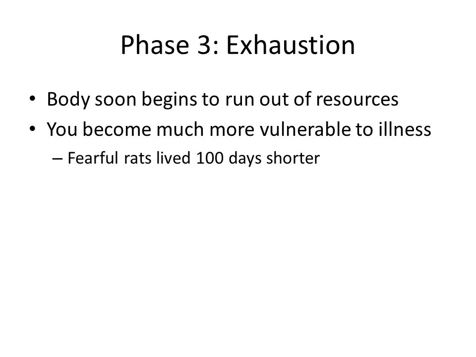 Phase 3: Exhaustion Body soon begins to run out of resources