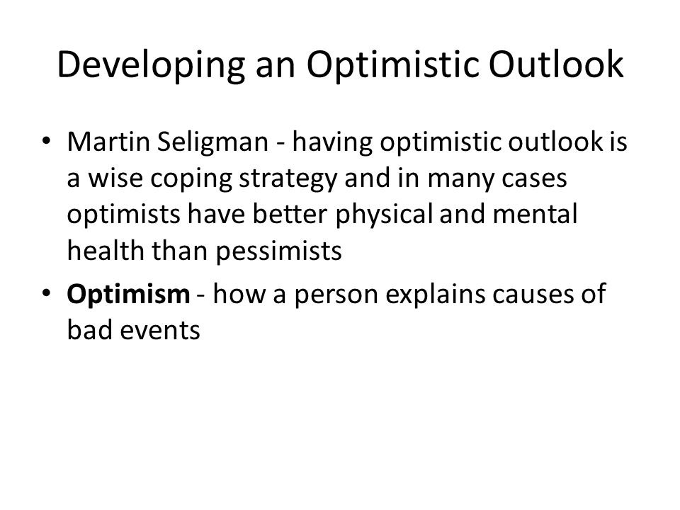 Developing an Optimistic Outlook
