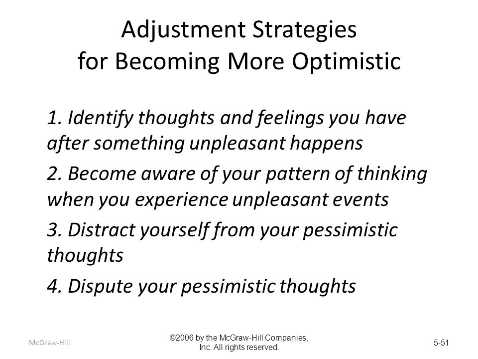 Adjustment Strategies for Becoming More Optimistic