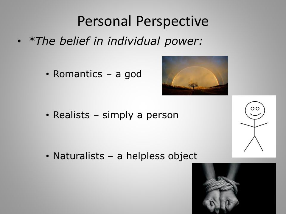 Personal Perspective *The belief in individual power: