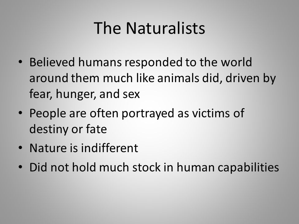 The Naturalists Believed humans responded to the world around them much like animals did, driven by fear, hunger, and sex.