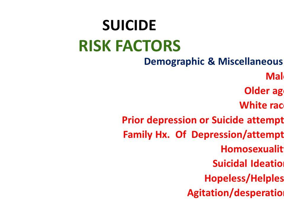 SUICIDE RISK FACTORS Demographic & Miscellaneous : Male Older age