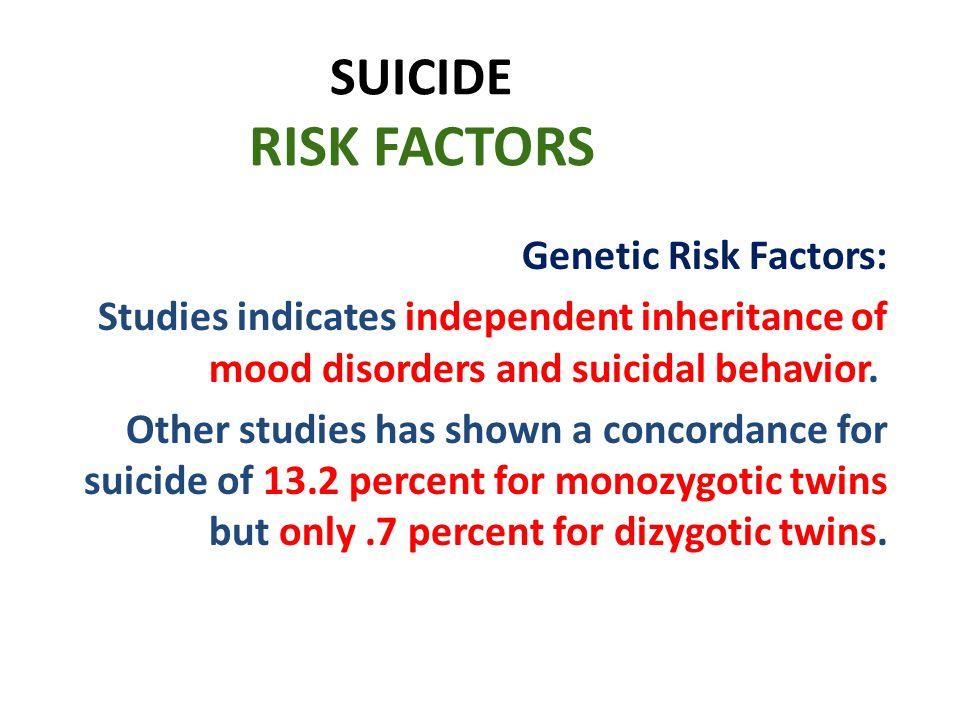 SUICIDE RISK FACTORS Genetic Risk Factors:
