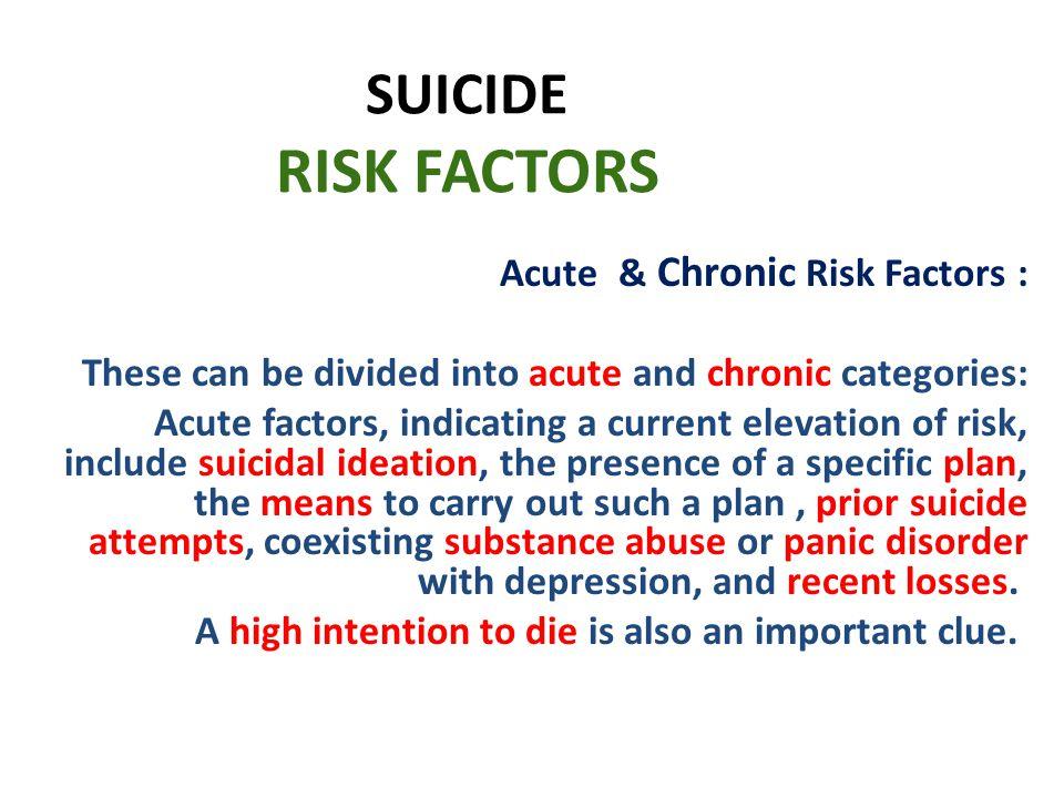 SUICIDE RISK FACTORS Acute & Chronic Risk Factors :