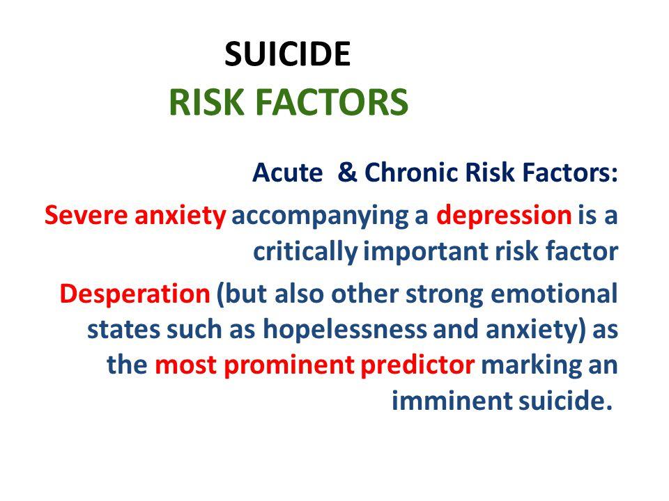 SUICIDE RISK FACTORS Acute & Chronic Risk Factors: