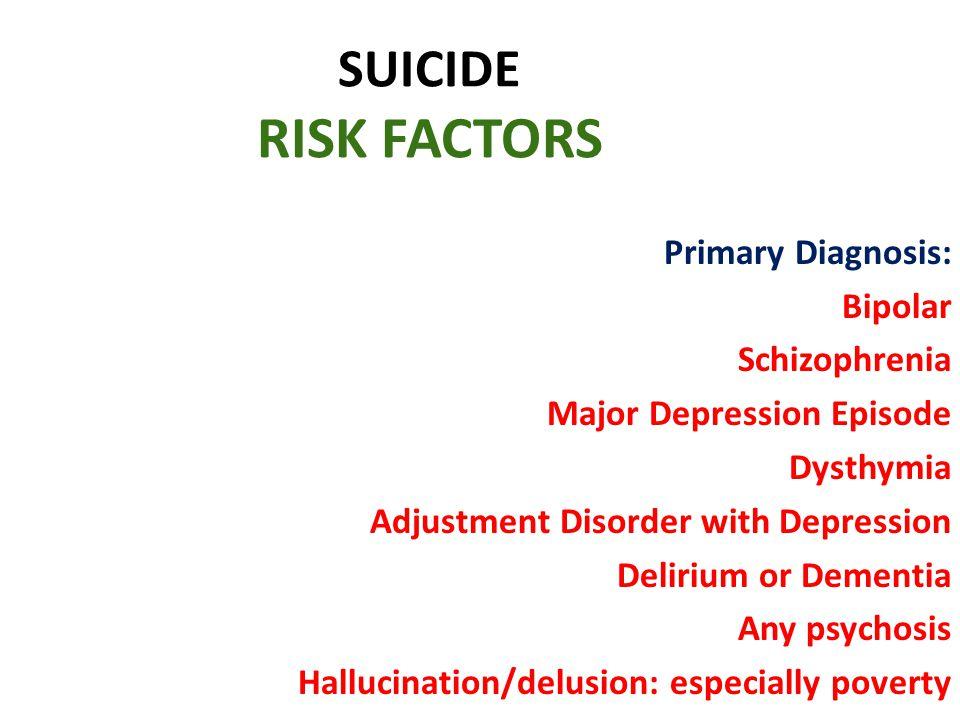SUICIDE RISK FACTORS Primary Diagnosis: Bipolar Schizophrenia
