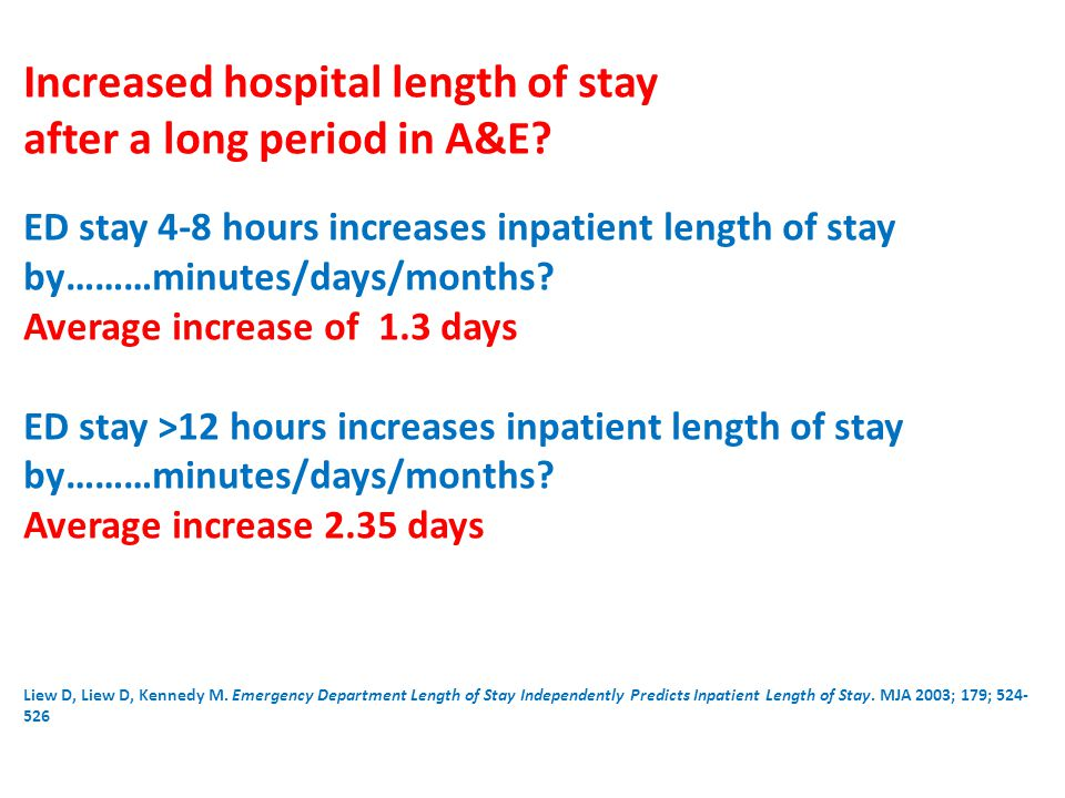 Increased hospital length of stay after a long period in A&E