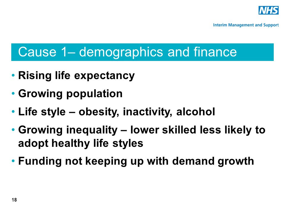 Cause 1– demographics and finance