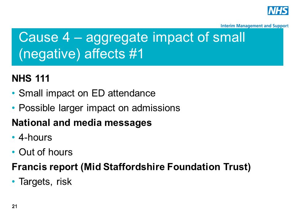 Cause 4 – aggregate impact of small (negative) affects #1