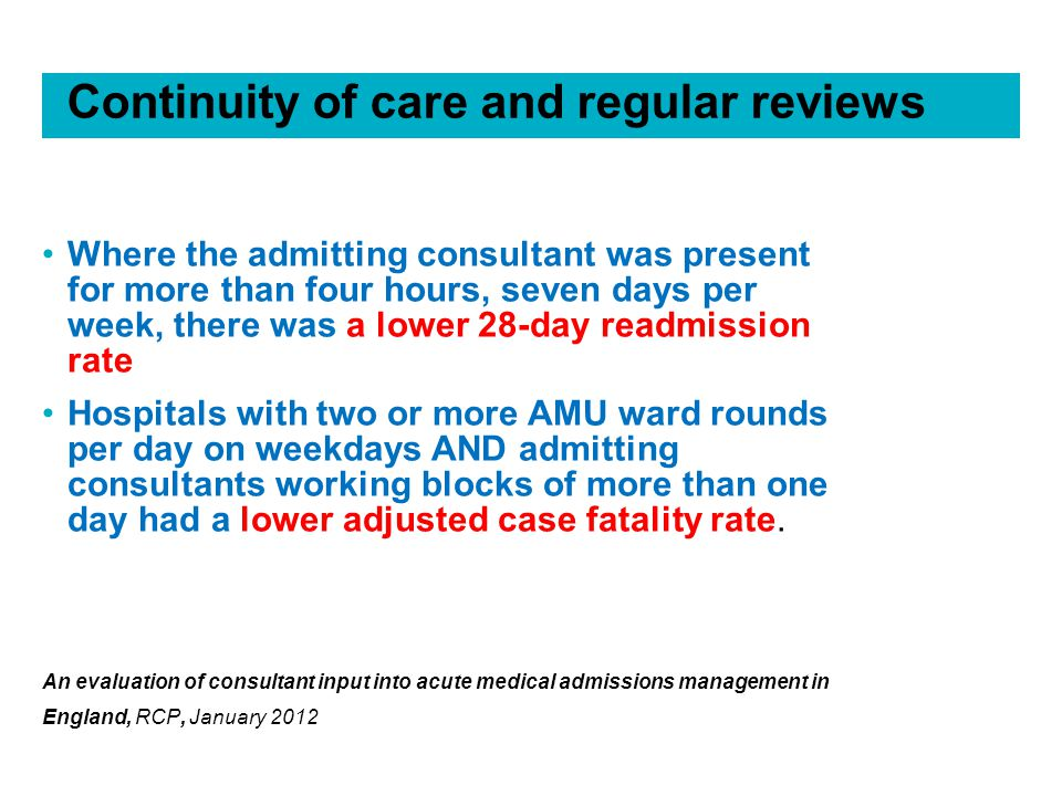 Continuity of care and regular reviews