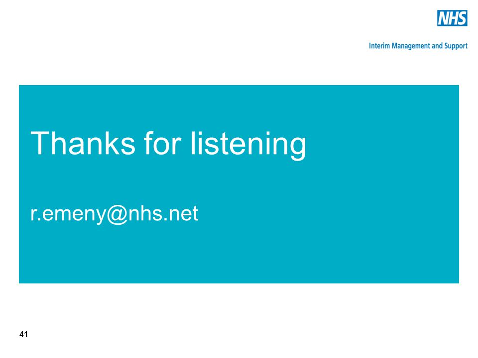 Thanks for listening r.emeny@nhs.net