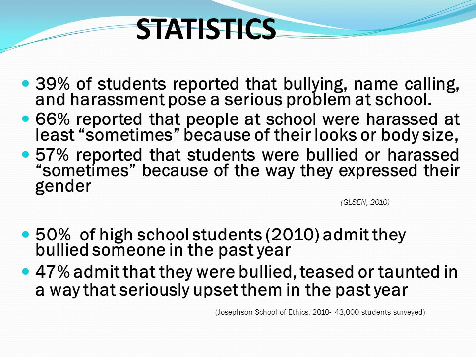 STATISTICS 39% of students reported that bullying, name calling, and harassment pose a serious problem at school.