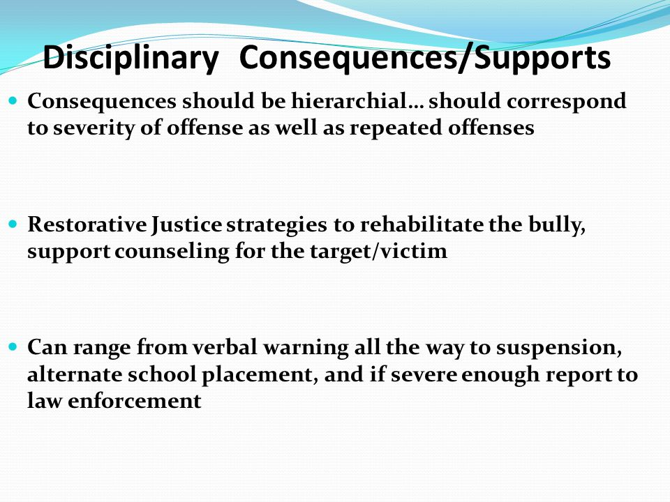 Disciplinary Consequences/Supports
