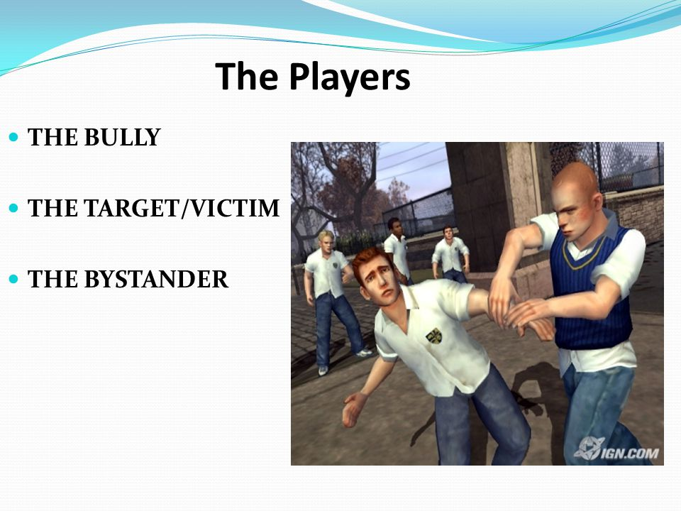 The Players THE BULLY THE TARGET/VICTIM THE BYSTANDER