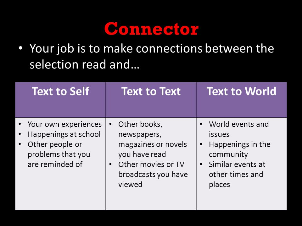 Connector Your job is to make connections between the selection read and… Text to Self. Text to Text.