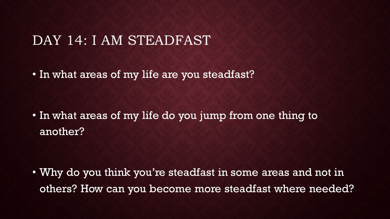 Day 14: I am steadfast In what areas of my life are you steadfast
