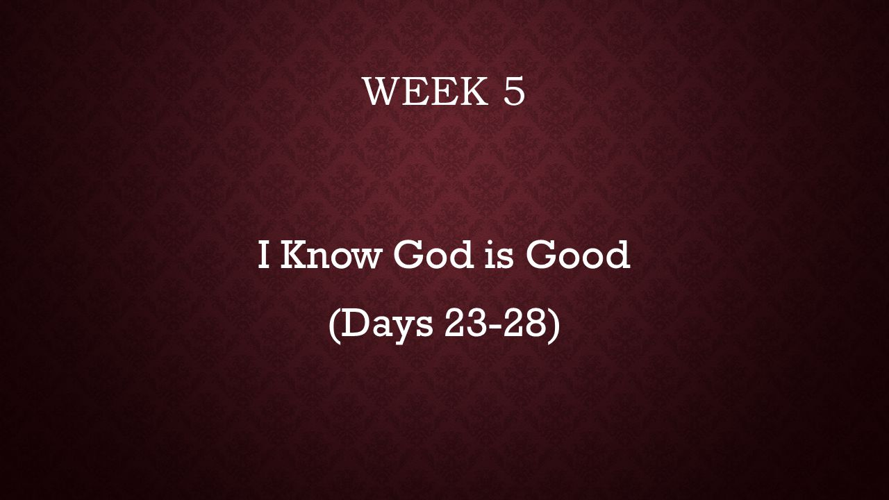 I Know God is Good (Days 23-28)