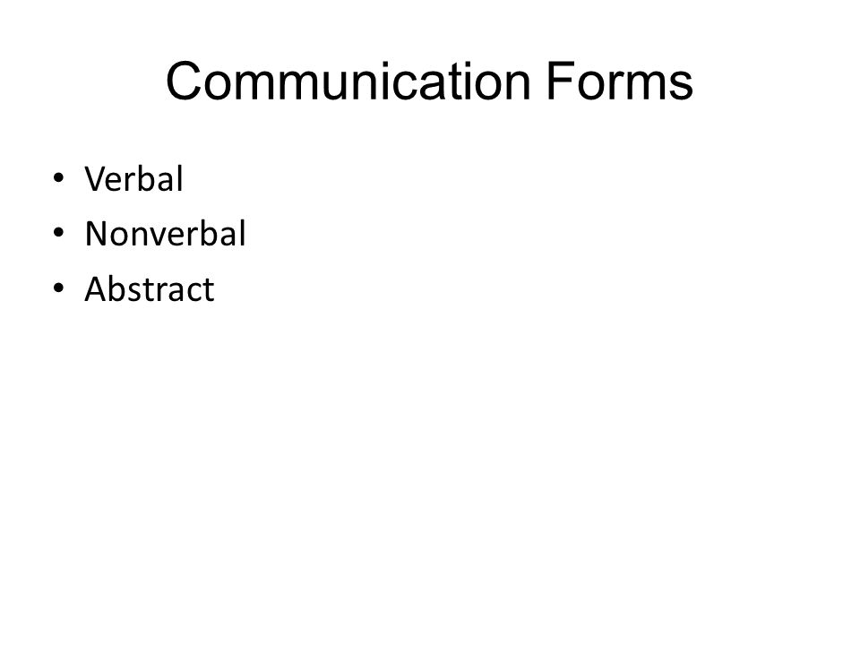 Communication Forms Verbal Nonverbal Abstract
