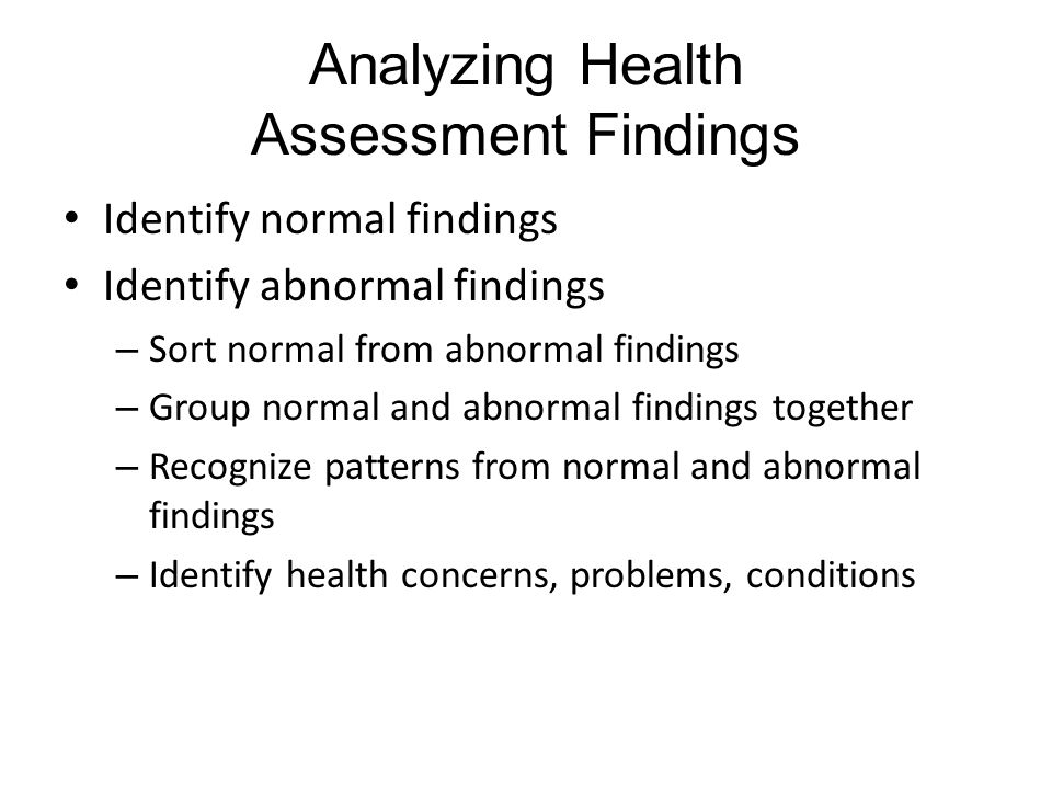 Analyzing Health Assessment Findings