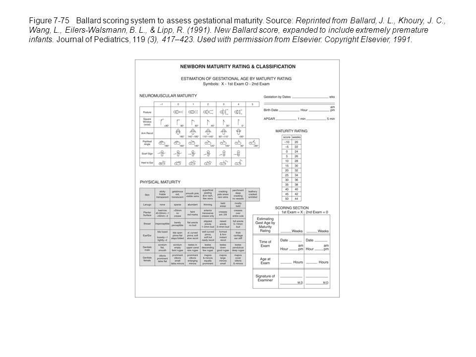 Figure 7-75 Ballard scoring system to assess gestational maturity